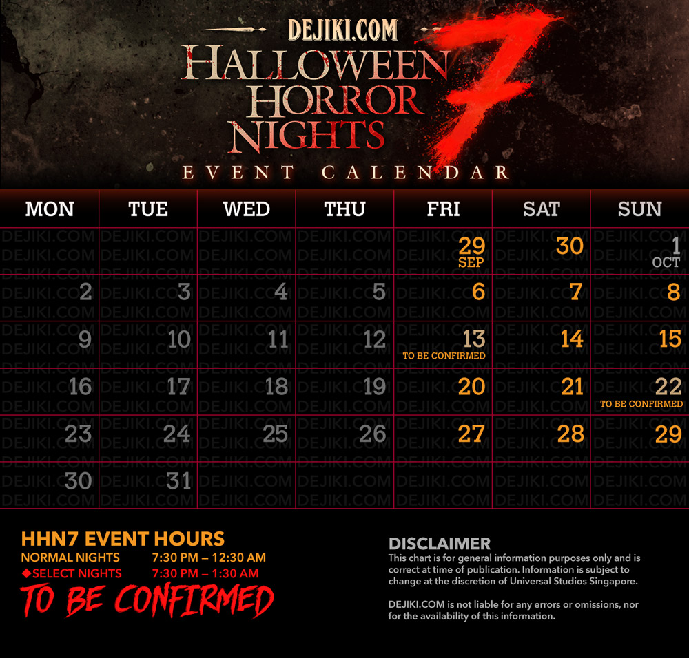 Halloween Horror Nights 7 Singapore Event Dates Calendar 2017 - HHN7 Logo by Dejiki