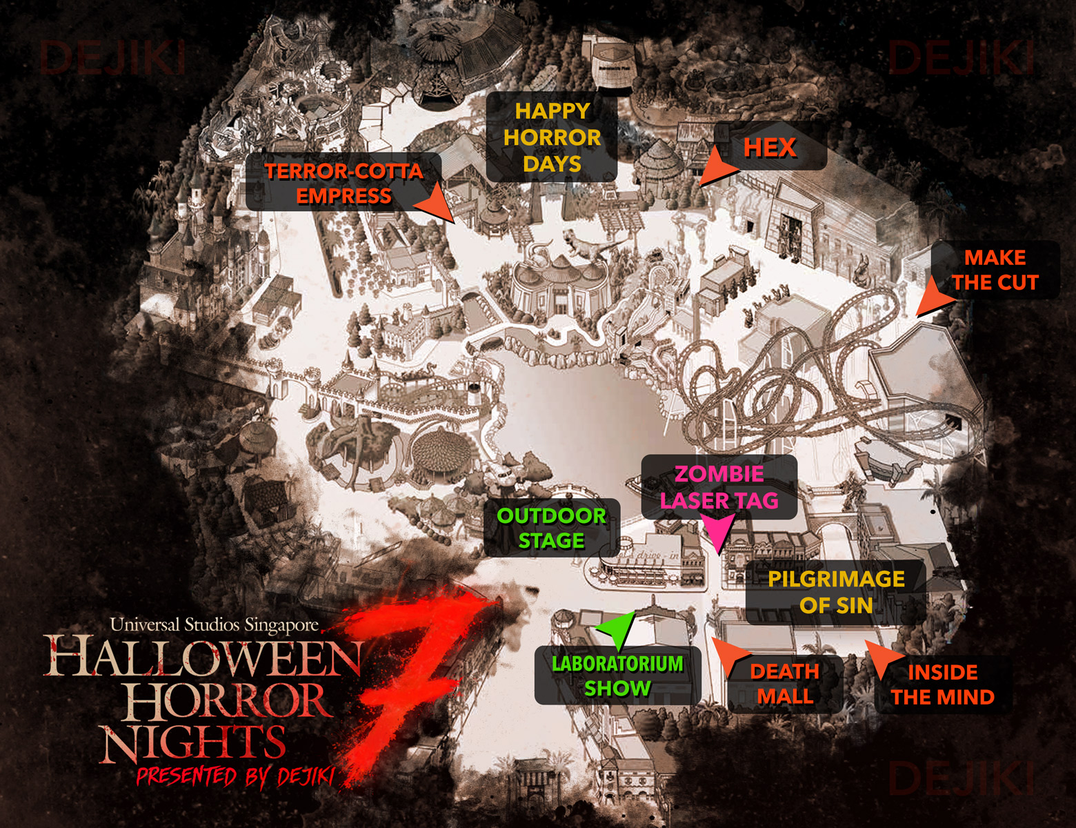 USS Halloween Horror Nights 7 Map HHN7 2017 Haunted Houses and Scare Zones