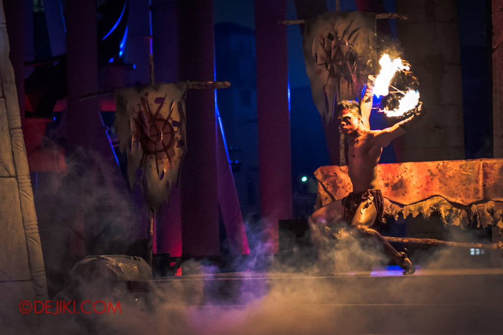 USS Singapore Halloween Horror Nights 8 Cannibal scare zone Blood and Bones show fire poi dance spinning behind