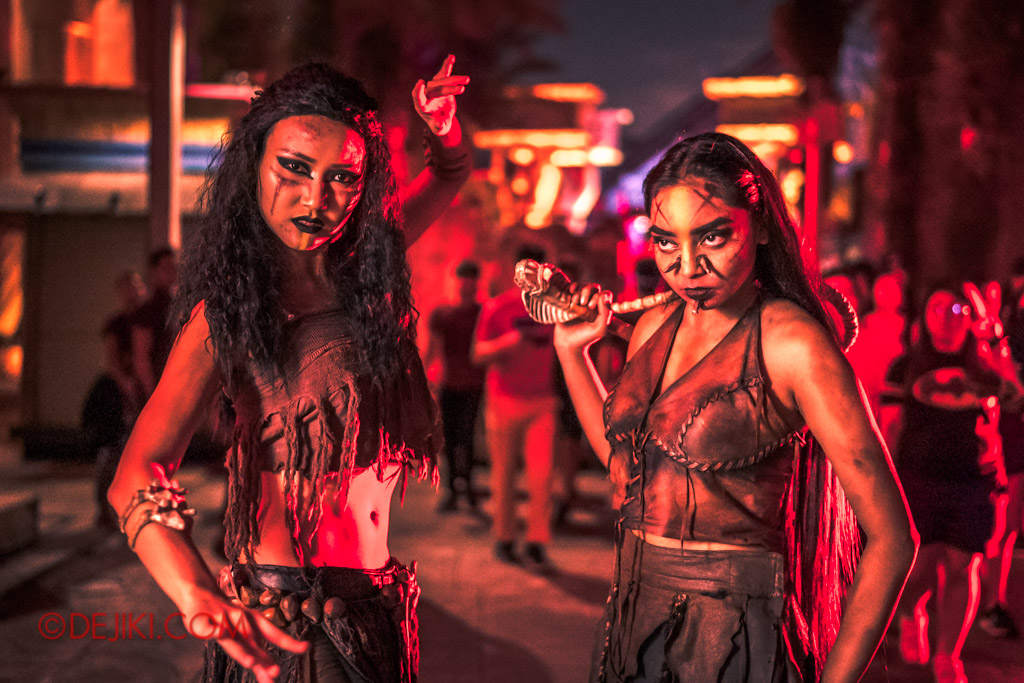 USS Singapore Halloween Horror Nights 8 Cannibal scare zone belly dancer and female warrior white