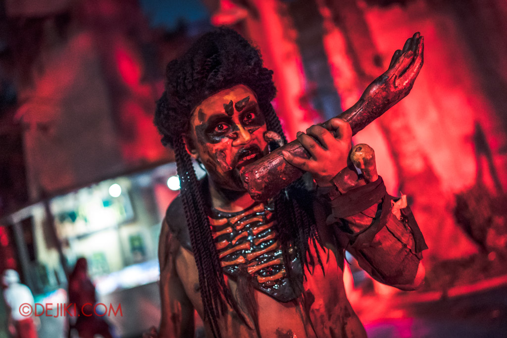 USS Singapore Halloween Horror Nights 8 Cannibal scare zone dreadlocks hungry cannibal