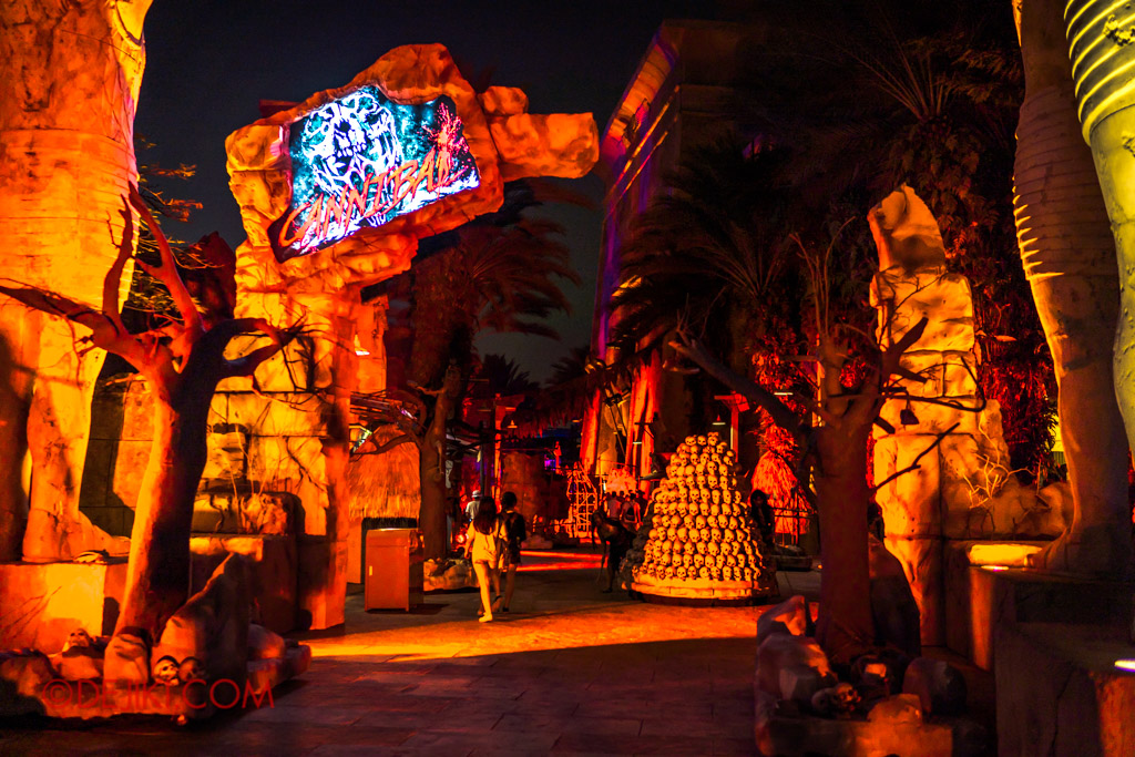 USS Singapore Halloween Horror Nights 8 Cannibal scare zone entrance arch HDR