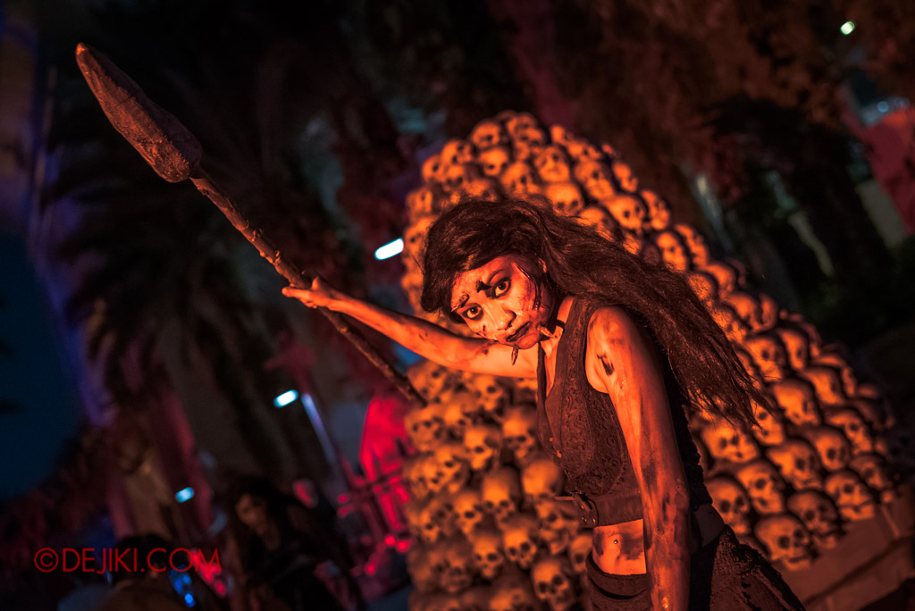 USS Singapore Halloween Horror Nights 8 Cannibal scare zone female huntress with javelin pike