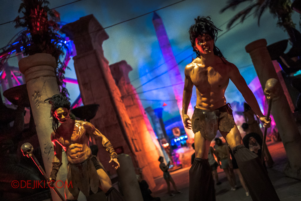 USS Singapore Halloween Horror Nights 8 Cannibal scare zone stilt walkers nicholas joel and guy