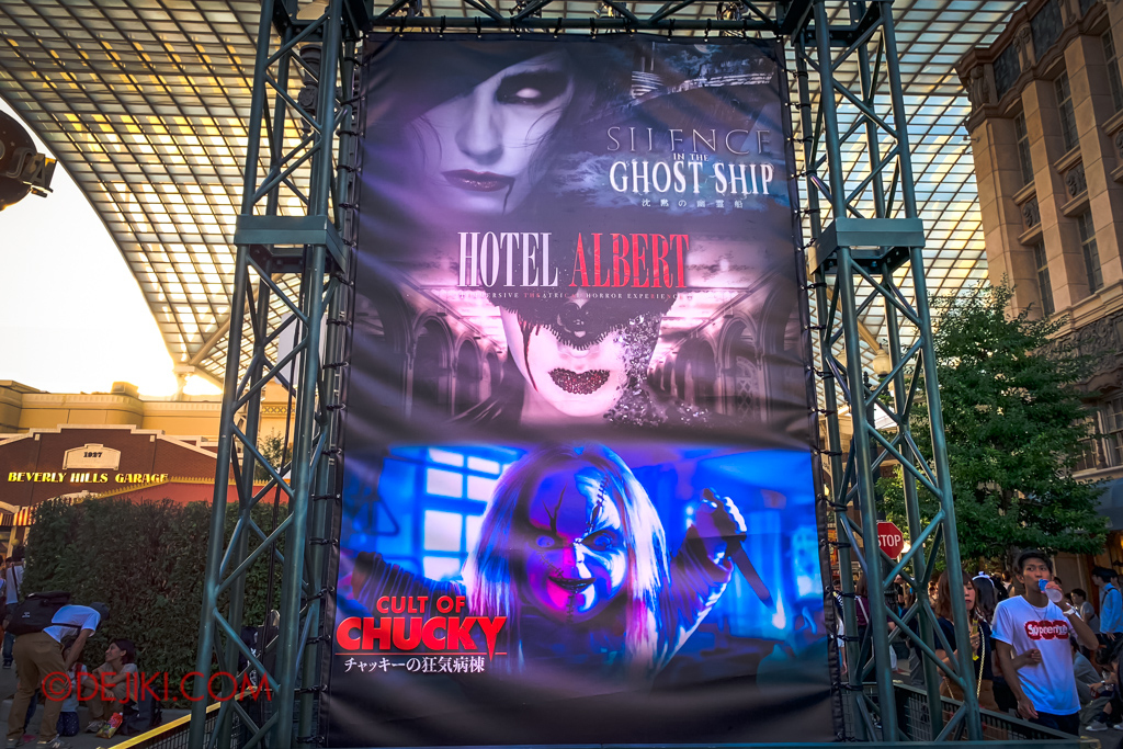 Universal Studios Japan Surprise Halloween Horror Nights 2018 - Otona Halloween attractions HOTEL ALBERT Silence in the Ghost Ship Cult of Chucky horror maze