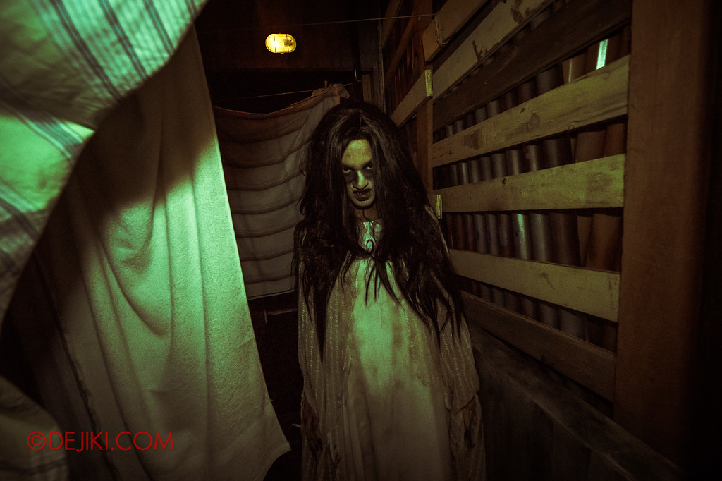 Universal Studios Singapore Halloween Horror Nights 8 - Pontianak haunted house hiding behind laundry sheets