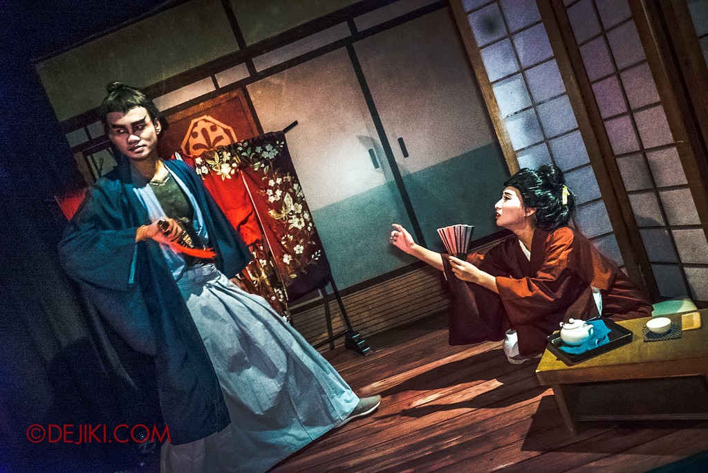 Universal Studios Singapore Halloween Horror Nights 8 - The Haunting of Oiwa haunted house introduction tamiya iemon and lady oiwa