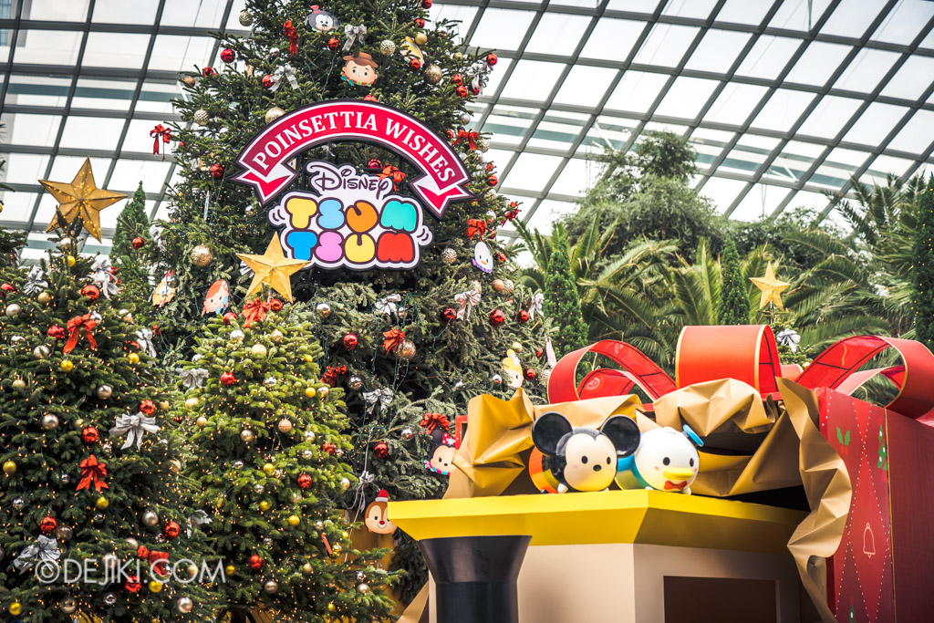 Gardens by the Bay Singapore Christmas 2018 - Poinsettia Wishes featuring Disney Tsum Tsum - Donald and Mickey on toy train