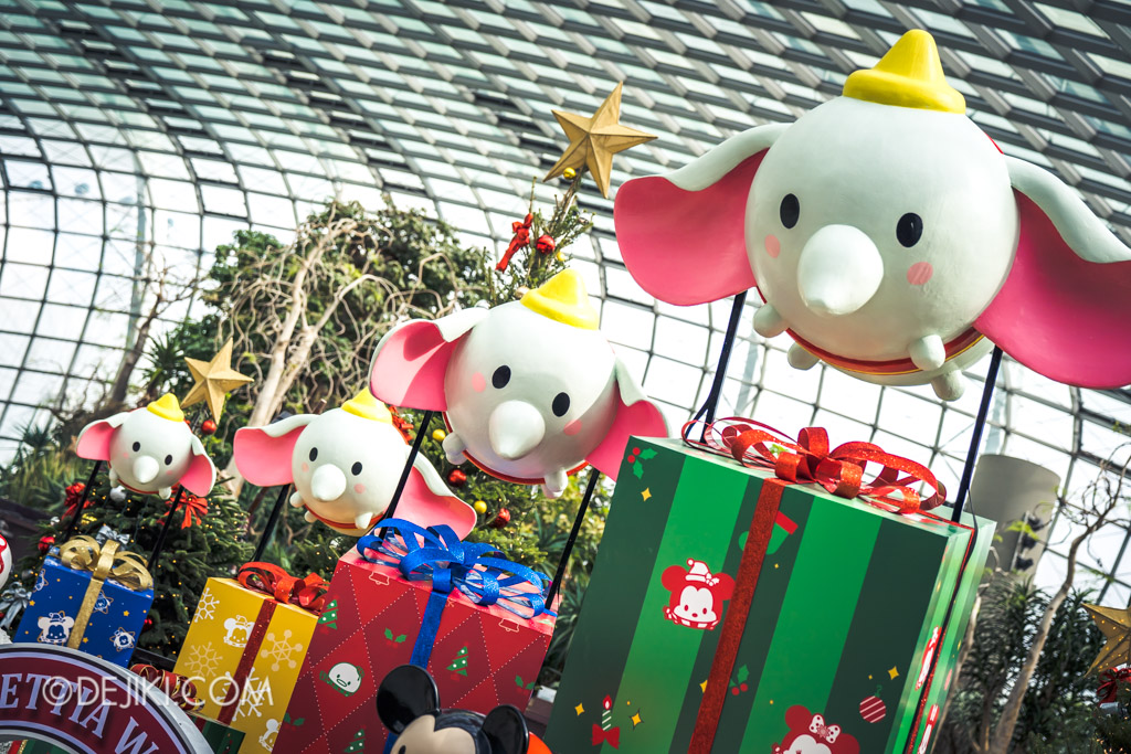 Gardens by the Bay Singapore Christmas 2018 - Poinsettia Wishes featuring Disney Tsum Tsum - Dumbo delivering presents