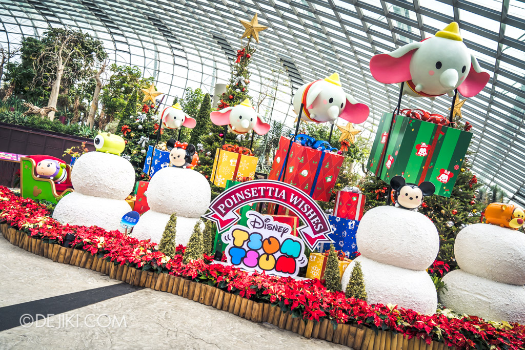 Gardens by the Bay Singapore Christmas 2018 - Poinsettia Wishes featuring Disney Tsum Tsum - Entrance display 2
