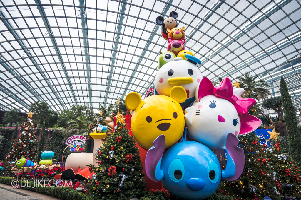 Gardens by the Bay Singapore Christmas 2018 - Poinsettia Wishes featuring Disney Tsum Tsum - Giant Stack