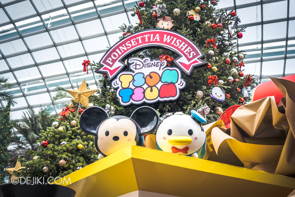 Gardens by the Bay Singapore Christmas 2018 - Poinsettia Wishes featuring Disney Tsum Tsum - Mickey and Donald main