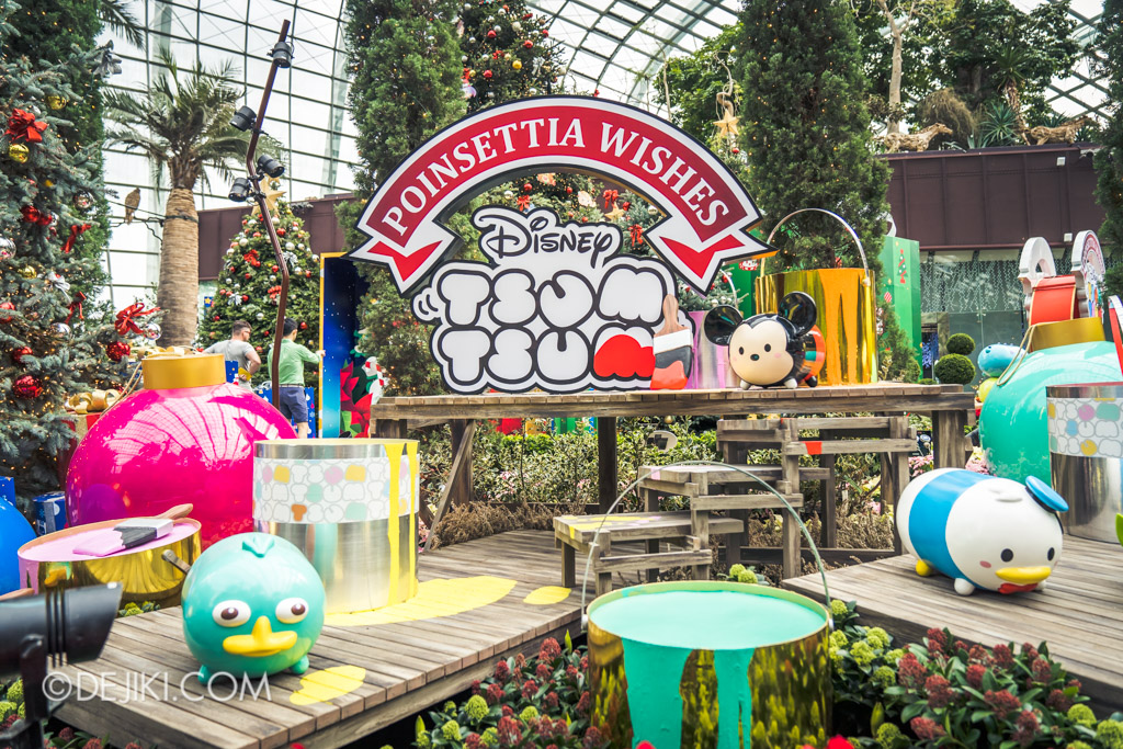 Gardens by the Bay Singapore Christmas 2018 - Poinsettia Wishes featuring Disney Tsum Tsum - Mickey painting the sign