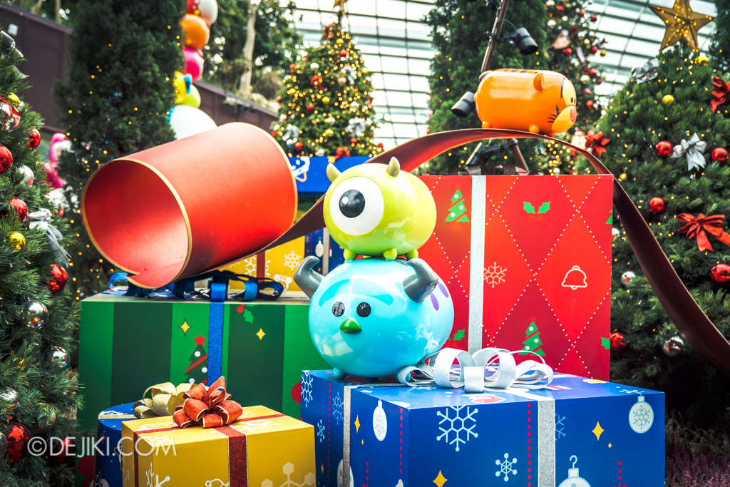 Gardens by the Bay Singapore Christmas 2018 - Poinsettia Wishes featuring Disney Tsum Tsum - Mike and Sully