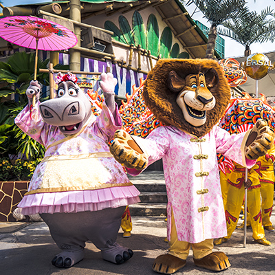 Universal Studios Singapore - Chinese New Year 2019 auspicious dragon trail parade show at Madagascar Alex Gloria King Julien