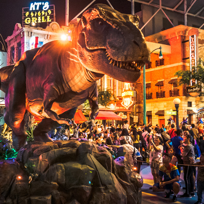 Universal Studios Singapore Hollywood Dreams Light-up Parade - Jurassic Park T-Rex float