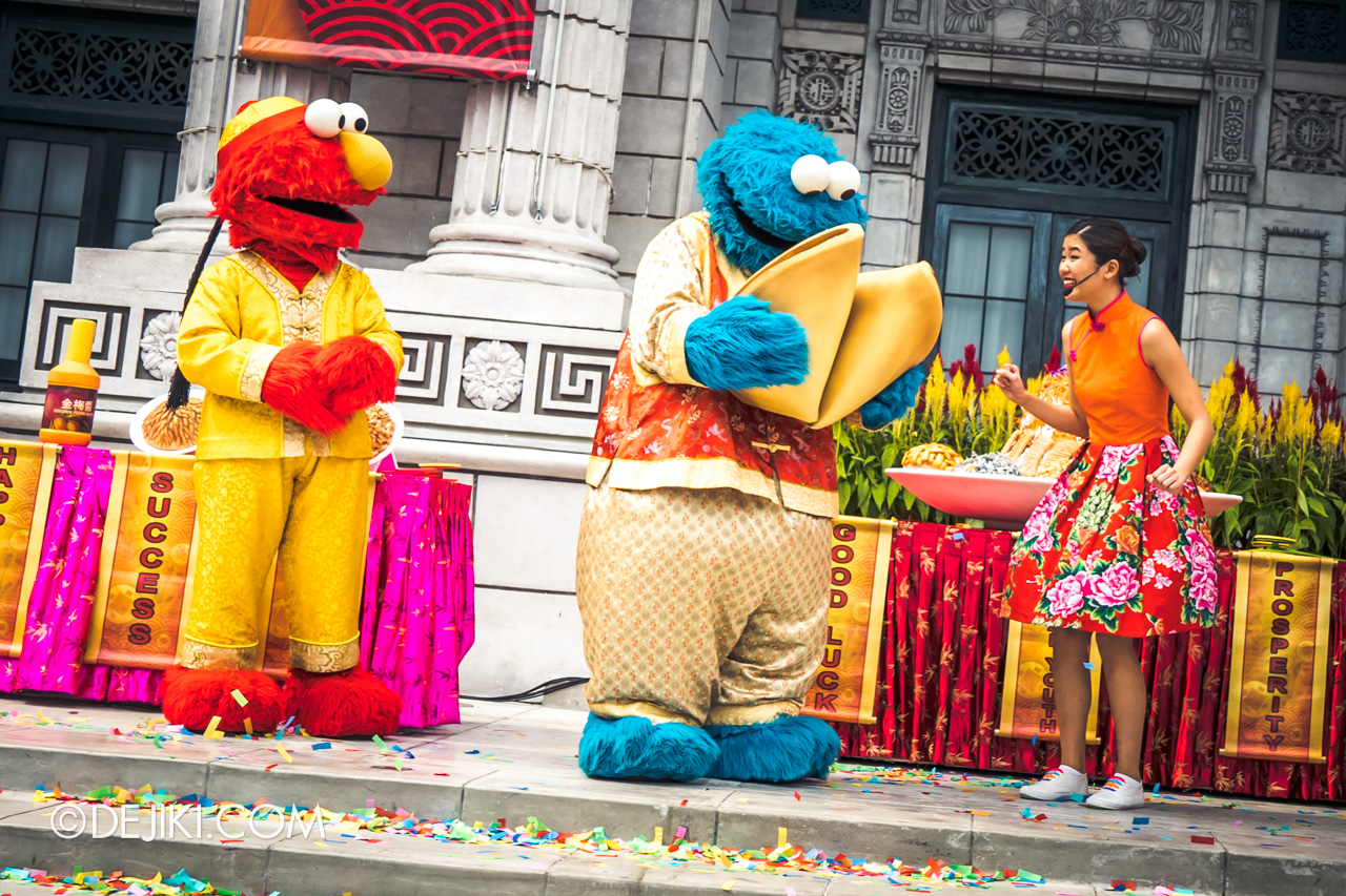 Universal Studios Singapore - Chinese New Year 2019 Monster Lo Hei show Sesame Street fortune cookie