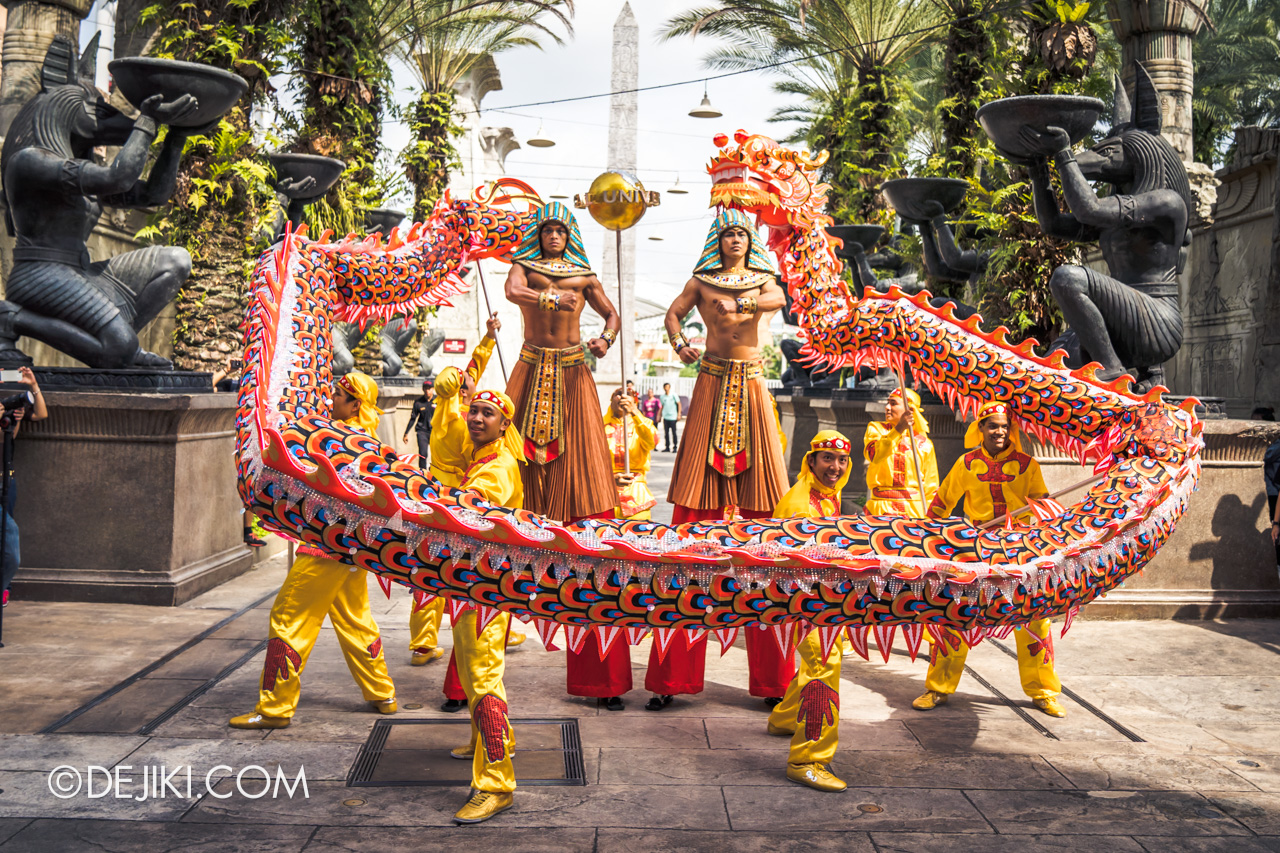 Universal Studios Singapore - Chinese New Year 2019 auspicious dragon trail parade show Ancient Egypt guards
