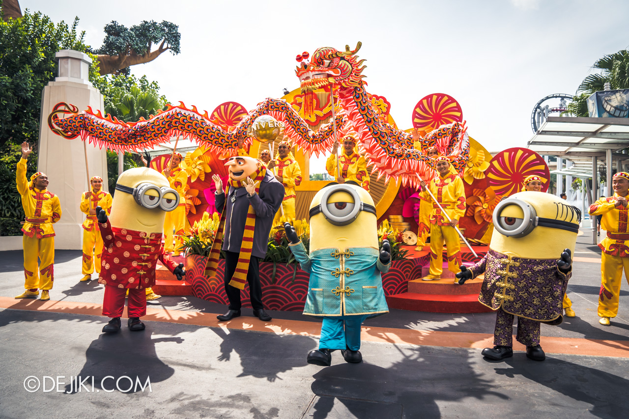 Universal Studios Singapore - Chinese New Year 2019 auspicious dragon trail parade show Minions and Dragon finale