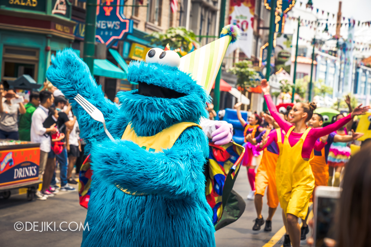 Universal Studios Singapore - Sesame Street 50 Years and Counting Celebration - Blowout Party intro cookie monster