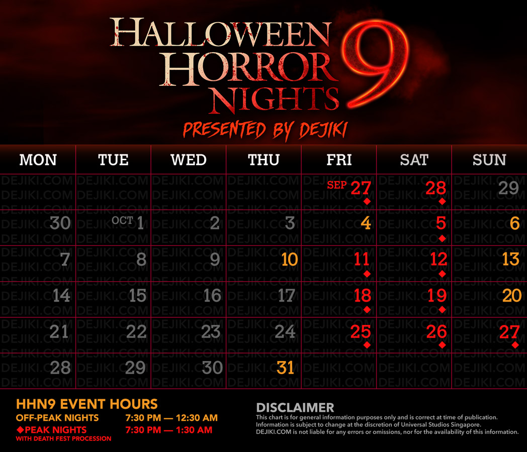 Event Calendar for USS Halloween Horror Nights 9 - Read all about it at Dejiki.com Full HHN9 Event Line-Up and Ticketing Information