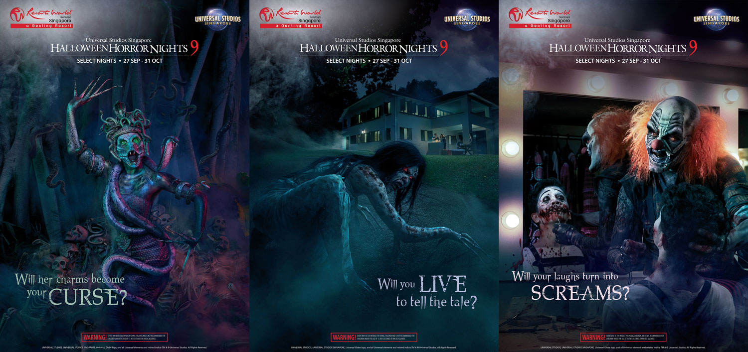 USS Halloween Horror Nights 9 Official Posters-showing iconic characters Naga Langsuir and Clown