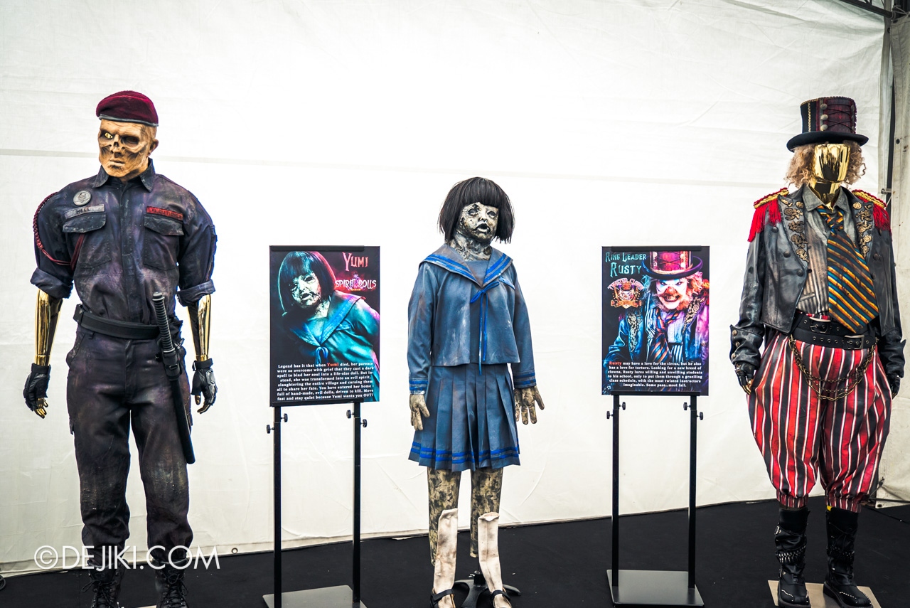 USS HHN9 Sneak Preview Behind The Scenes Icon Costumes Executioner Hell Block 9 Yumi Spirit Dolls Rusty The Clown
