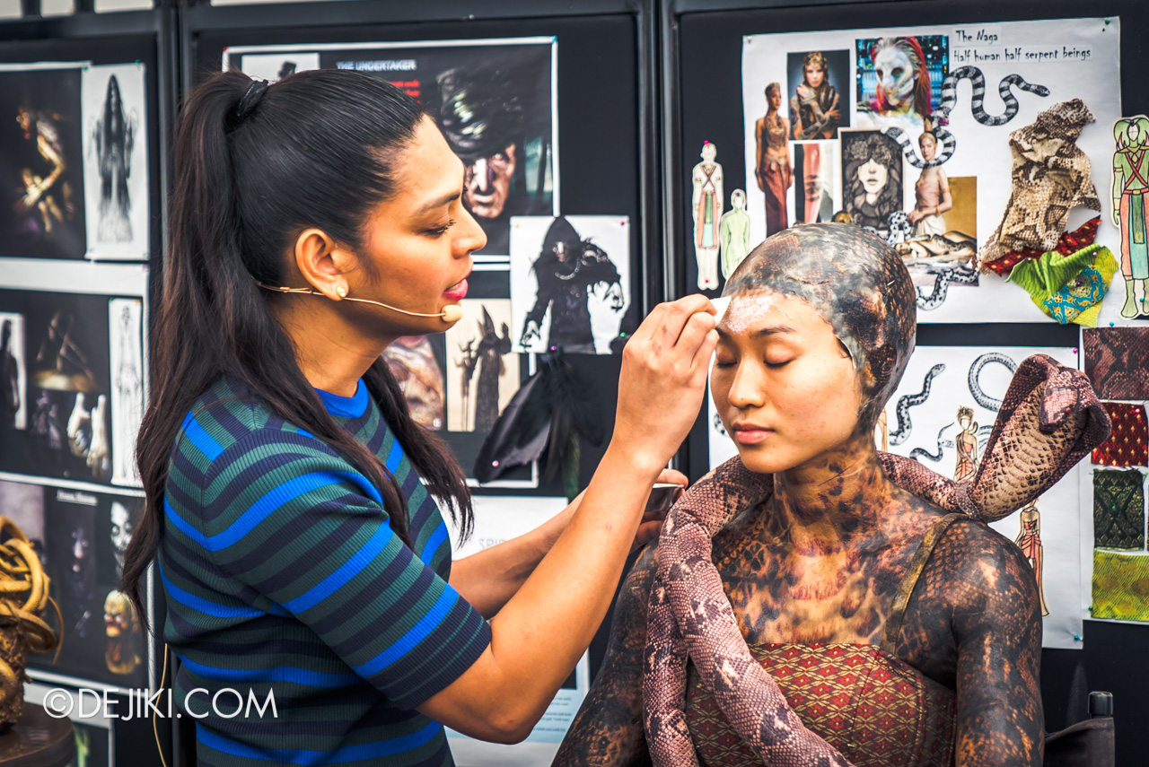 USS HHN9 Sneak Preview Behind The Scenes Makeup for Curse of the Naga Serpentine Spirit clean face