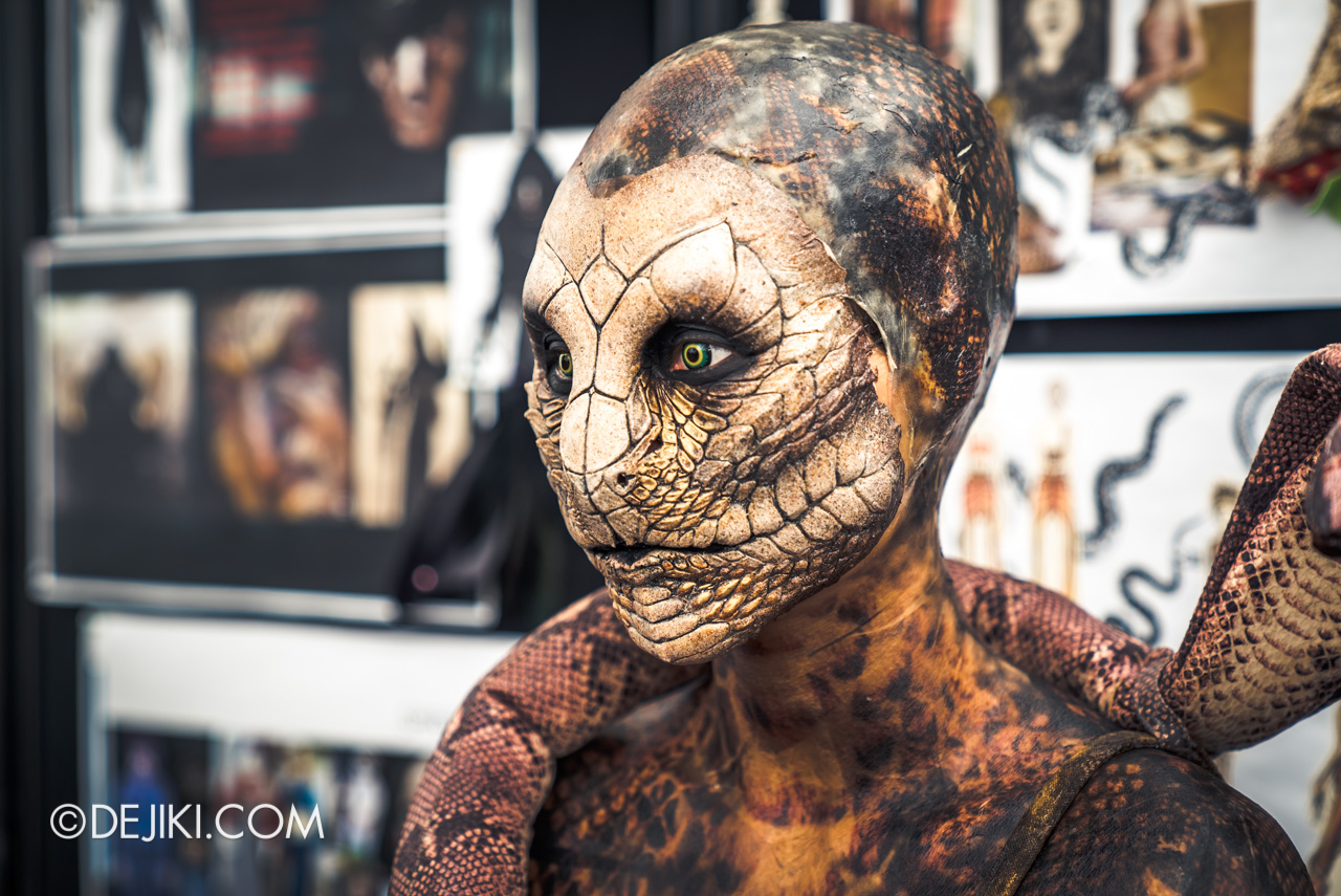 USS HHN9 Sneak Preview Behind The Scenes Makeup for Curse of the Naga Serpentine Spirit closeup