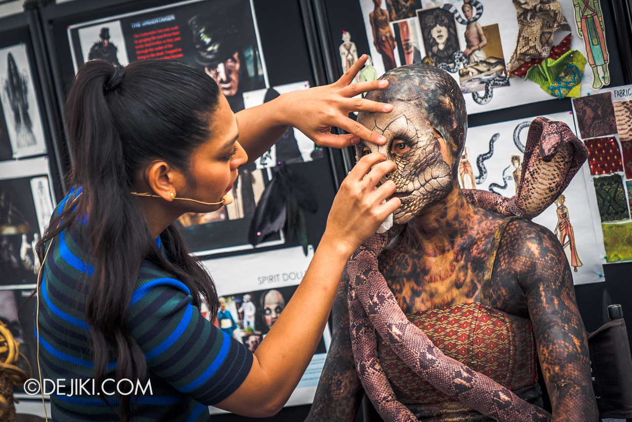 USS HHN9 Sneak Preview Behind The Scenes Rally showing application of mask special effects for Serpentine Spirit