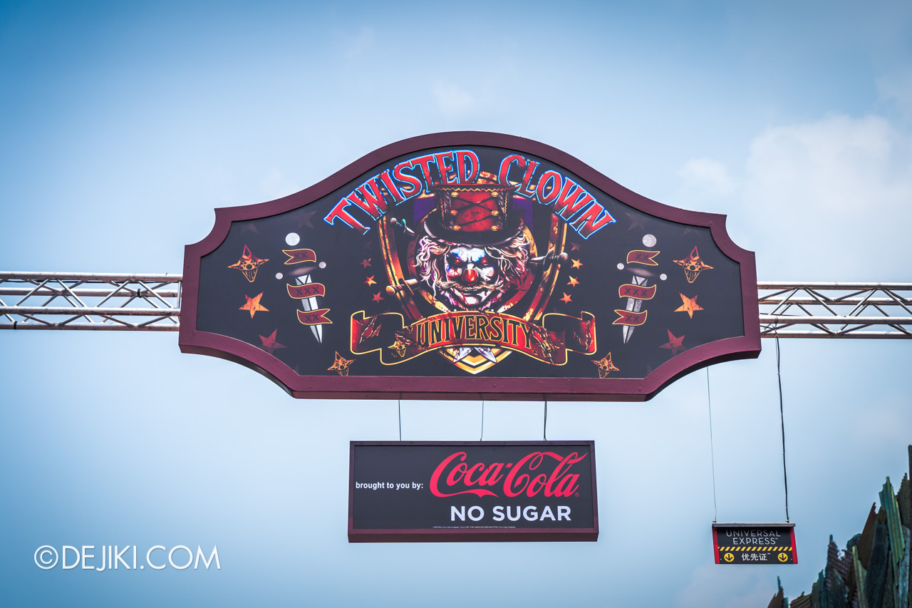 USS Halloween Horror Nights 9 Construction Update haunted house Twisted Clown University entrance sign closeup
