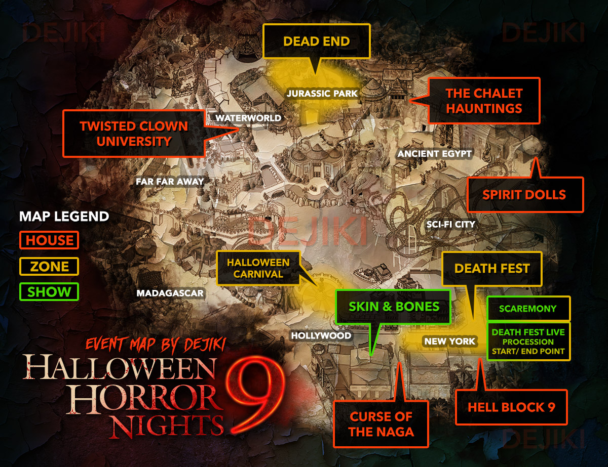 USS Halloween Horror Nights 9 Event Map showing locations of all 5 haunted houses, 2 scare zones and 3 shows