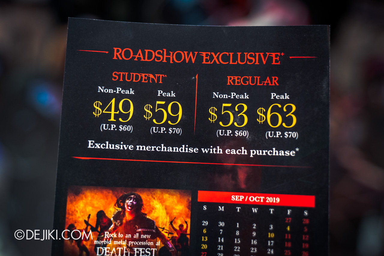 USS Halloween Horror Nights 9 Roadshows Pricelist