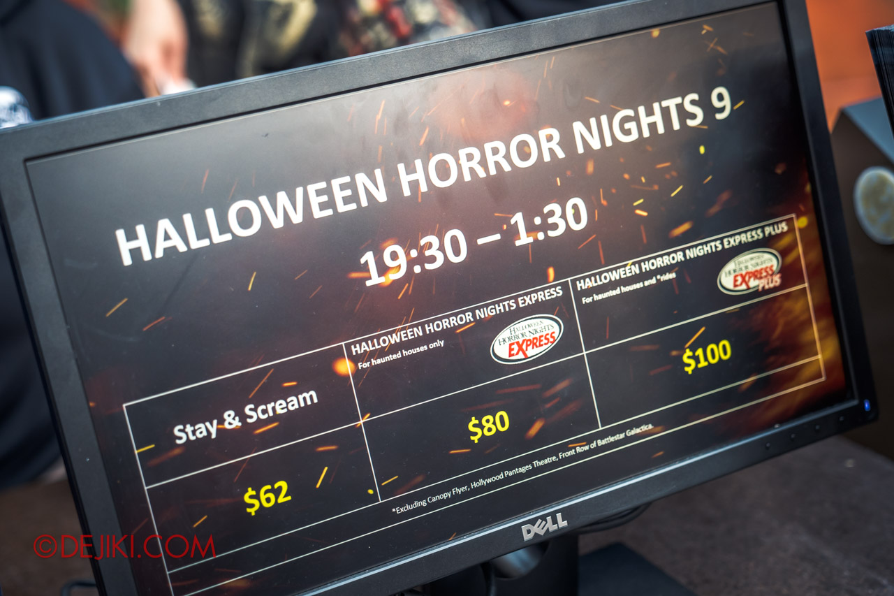 USS Halloween Horror Nights 9 Survival Guide HHN Express Pass pricelist