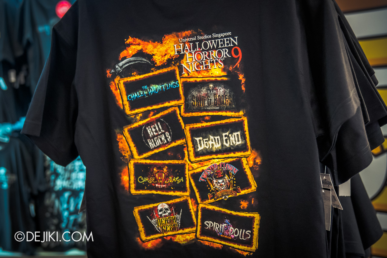 USS Halloween Horror Nights 9 merchandise official t shirt fearless featuring logos of haunted houses and scare zones