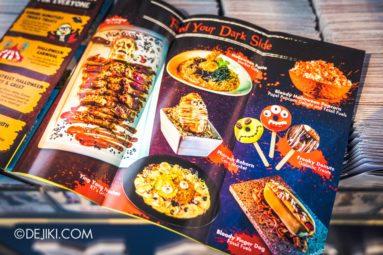 USS Halloween Horror Nights themed food menu