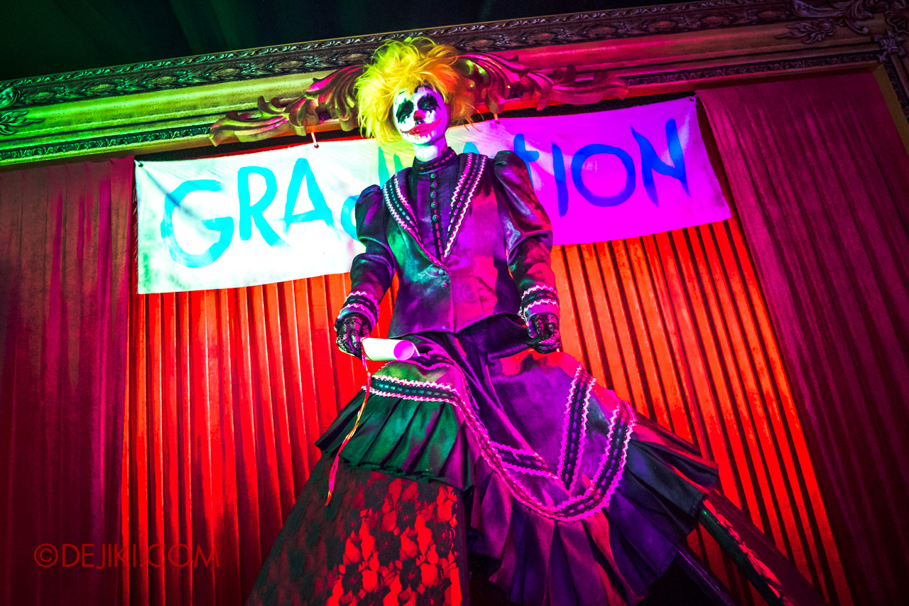 USS Halloween Horror Nights 9 Twisted Clown University haunted house 08 miss direction graduation