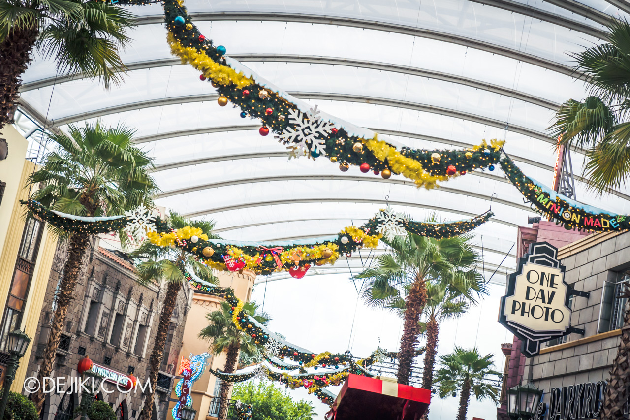 Universal Studios Singapore A Universal Christmas 2019 event Hollywood park decor overhead