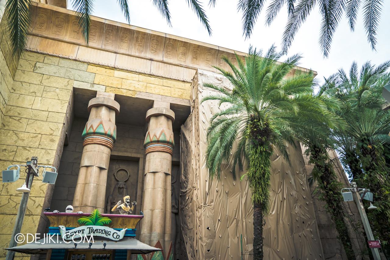 Universal Studios Singapore Park Update Feb 2020 Ancient Egypt Revenge of the Mummy temple building refurbishment 2