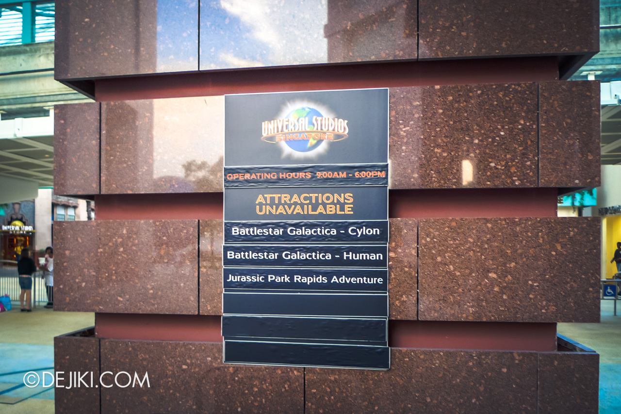 Universal Studios Singapore 10th Anniversary Flashback 2010 Ride Closures