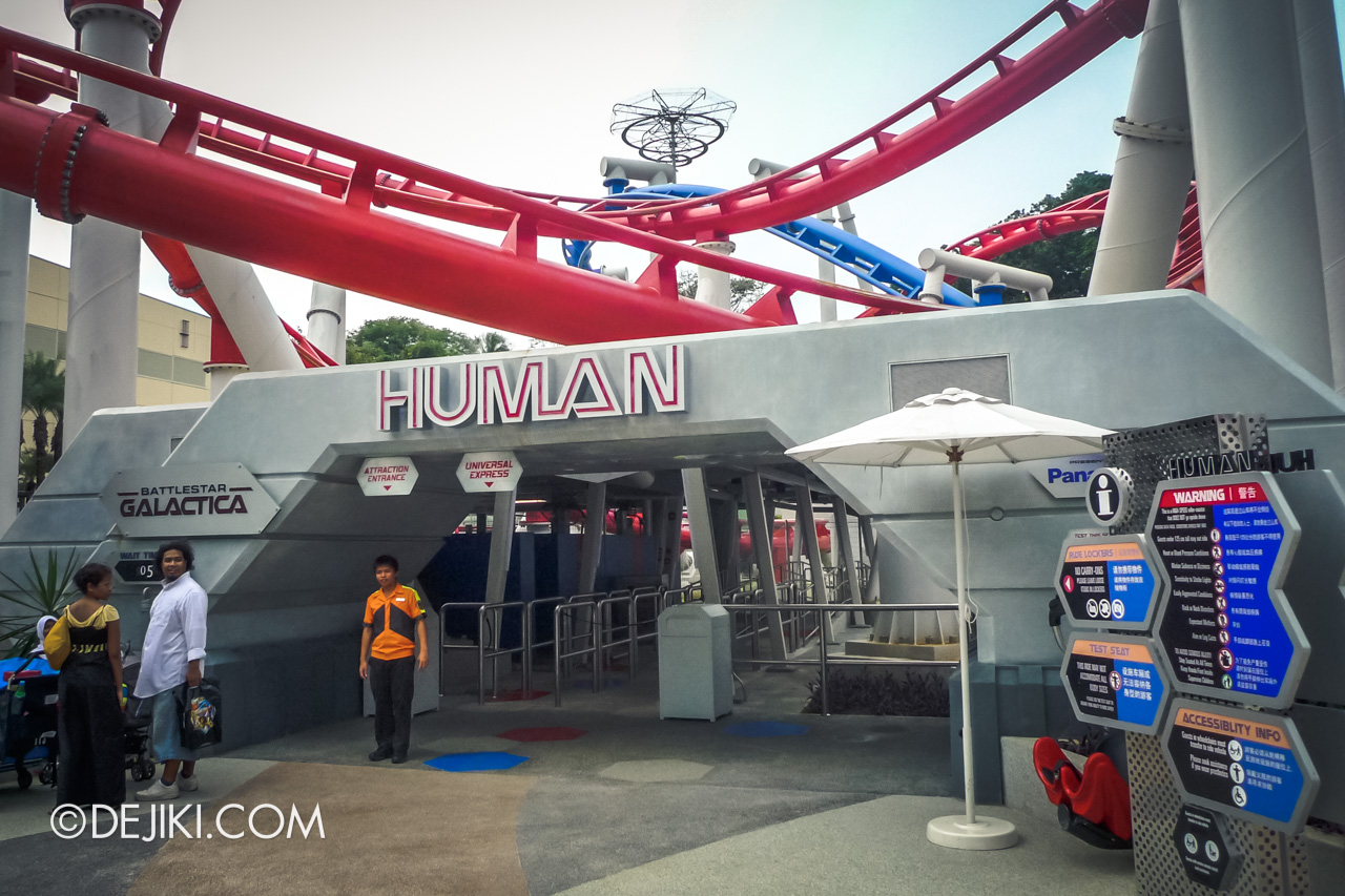 Universal Studios Singapore 10th Anniversary Flashback Battlestar Galactica original ride entrance for HUMAN
