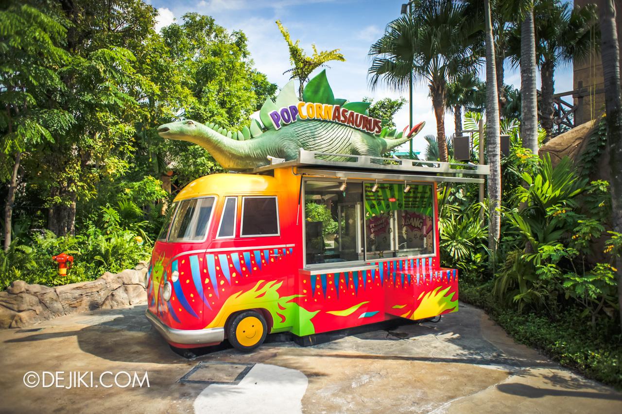 Universal Studios Singapore 10th Anniversary Flashback Jurassic Park original Popcornasaurus cart
