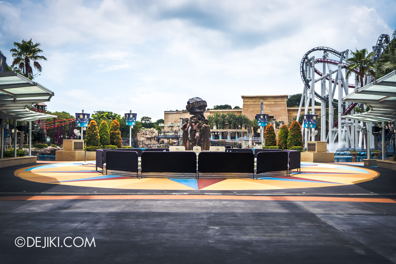 Universal Studios Singapore Covid 19 Park Update Mar Apr 2020 Facilities closed Hollywood Plaza fountain