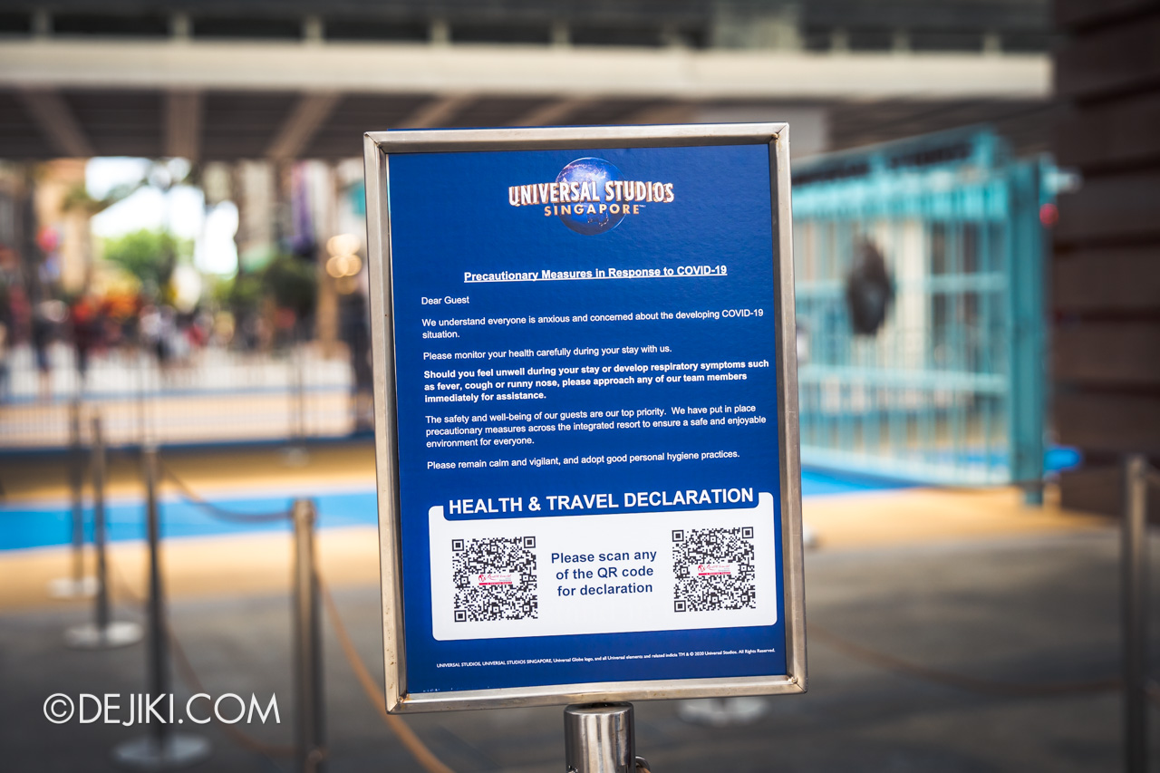 Universal Studios Singapore Covid 19 Park Update Mar Apr 2020 Health and Travel Declaration notice 2