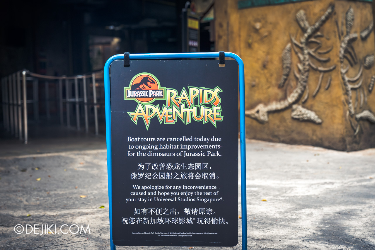 Universal Studios Singapore Covid 19 Park Update Mar Apr 2020 Suspended attractions Jurassic Park Rapids Adventure