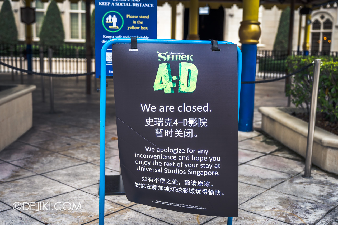 Universal Studios Singapore Covid 19 Park Update Mar Apr 2020 Suspended attractions Shrek 4 D Adventure