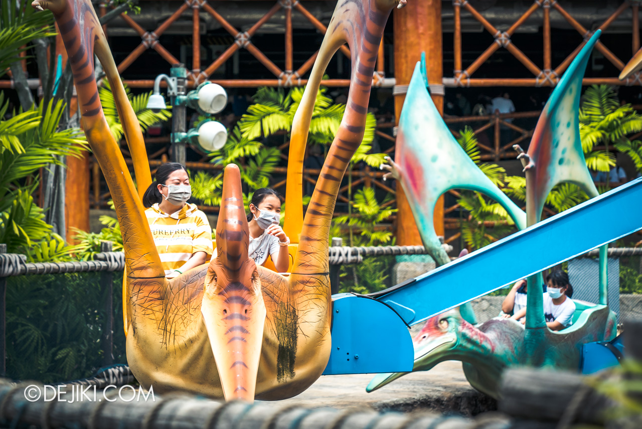 Universal Studios Singapore Reopening Park Update June 2020 DinoSoarin guests with masks