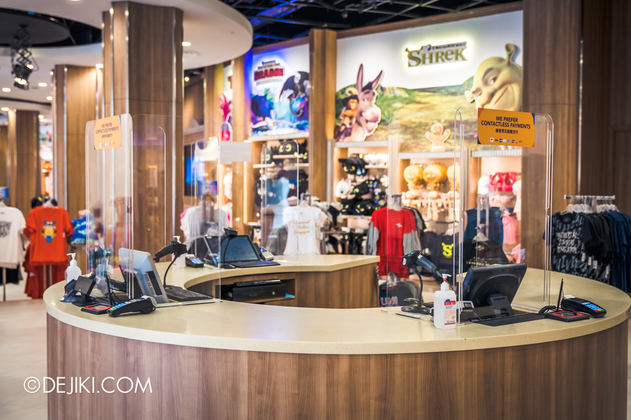 Universal Studios Singapore Reopening Safe Management Measures Retail cashier shields