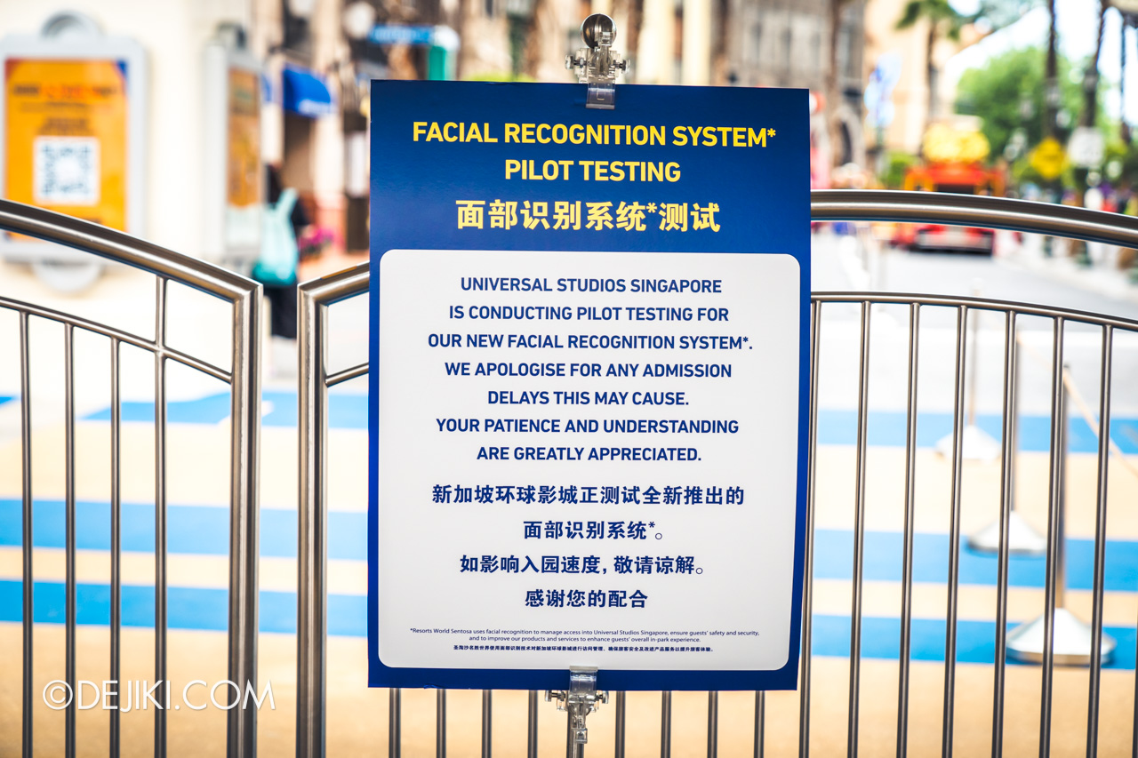Universal Studios Singapore Park Update Sept 2020 Contactless Admission with Face Recognition notice