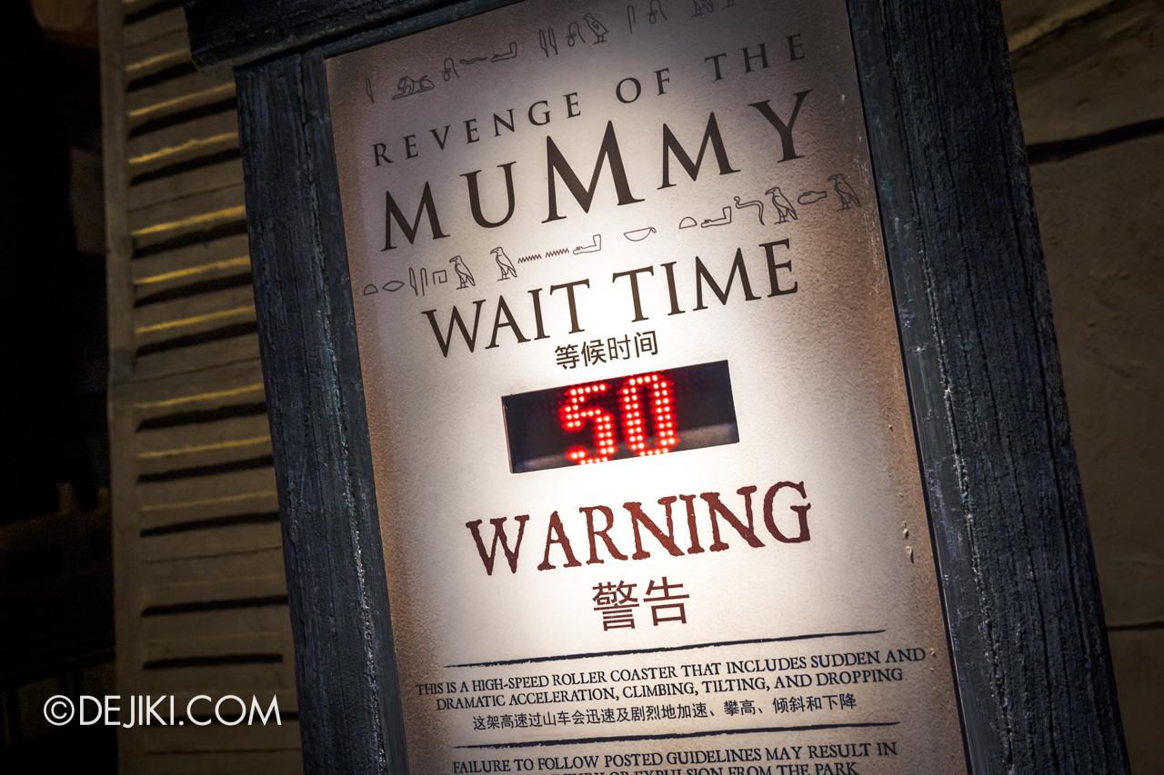 Universal Studios Singapore Park Update Dec 2020 Walkabout Revenge of the Mummy Wait Time